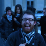 weev addresses supporters minutes before sentencing outside courthouse.
